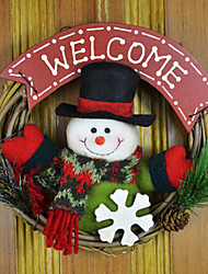 Christmas Wreaths Cute Snowman With Welcome Character ,PVC