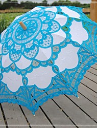 "Wedding / Beach / Daily / Masquerade Lace / Cotton Umbrella Blue 26""(Approx.66cm) Metal / Wood 30.7""(Approx.78cm)"