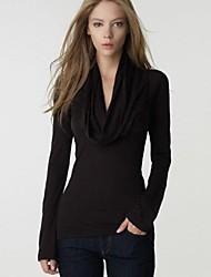 sexy v cuello manga larga camiseta delgada de la mujer