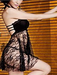 encaje negro Sleepware sexy traje de vestir de las mujeres