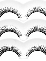 New 3 Pairs European Black Crossed Long Thick False Eyelashes Eyelash Eye Lashes for Eye Extensions