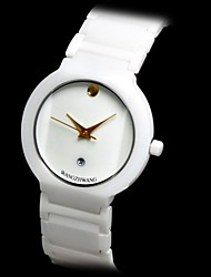 Men's Waterproof Calendar Round Dial Ceramic Band Quartz Analog Wrist Watch