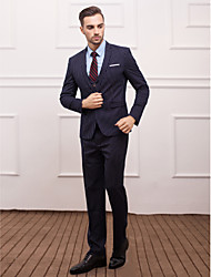 Suits Slim Fit Slim Notch Single Breasted One-button 3 Pieces Dark Blue Straight Flapped