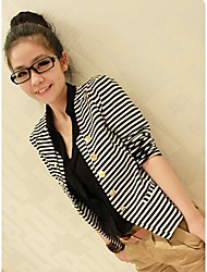 Stripes Pleated Buttons Short Coat