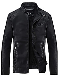 DG9003 Men's Fashion Fitted Leather Jacket