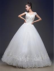 Ball Gown Wedding Dress-Floor-length V-neck Tulle