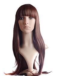 Capless Long  Brown Straight High Quality  100% Imported Heat-resistant Fiber Full Bang Wigs