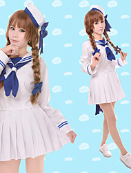 Inspired by Wadanohara Cosplay Anime Cosplay Costumes Cosplay Suits Solid Long Sleeve Top Skirt Sleeves Hat For Female