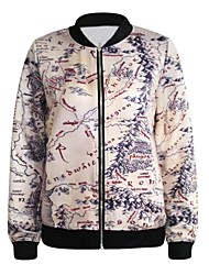 PinkQueen® Women's Spandex Topographic Map Printed Crew Neck Jacket