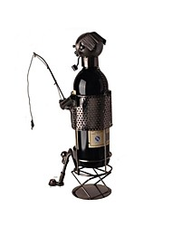 FanJiuShi ® Metal  Wine Rack House Furnishing Office Desk Decorations Art Fishing 44-1871