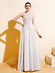 Floor-length Lace / Tulle Bridesmaid Dress - Ivory Plus Sizes / Petite A-line Bateau
