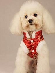Lovely Chinese Vintage Pattern Clothes with Collar for Pets Dogs (Assorted Colors, Sizes)