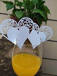 24pcs Laser Cut Heart Cup Name Place Escort Card for Wine Glass Wedding Baby Shower Christmas Party Decoration
