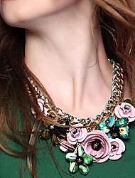 Jane Pedra New Arrival colorido Rhinestone Flower Colar Mulheres Acessórios de Moda
