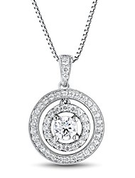 Women's Classic Circle Cubic Zirconia Platinum-Plated Sterling Silver Necklace