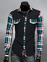Men's Long Sleeve Shirt , Cotton Casual/Work Plaids & Checks/Pure
