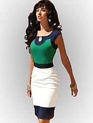 Women's Color Block Pink/Green/Yellow Dress,Bodycon Round Neck Sleeveless