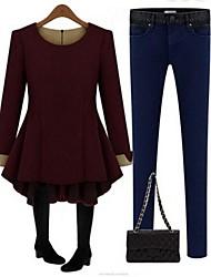 De las mujeres Tallas Grandes Vestido Tallas Grandes Un Color Mini Escote Redondo Lana / Otro