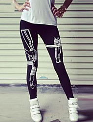 Women's Black Sports Legging, Gun Pattern Print