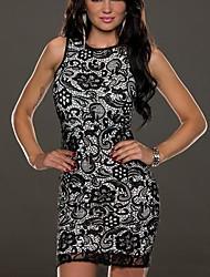 cuello redondo de las mujeres mini vestido, poliéster blanco / negro sexy / bodycon / cordón / partido