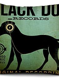 cão de algodão preto / capa de travesseiro decorativo linho