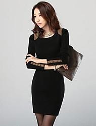 плюс размеры женские ол моды с длинным рукавом пакет ягодиц платья