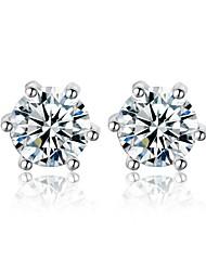 Woman's Fashion Platinum Shine Crystal Zircon Earrings