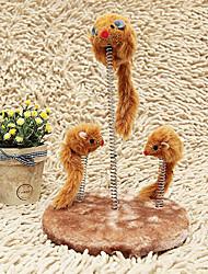 Gatos Juguetes Rompe Cabezas / Ratón de Juguete Elástico Textil Marrón