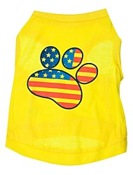 Cat / Dog Shirt / T-Shirt Yellow Dog Clothes Spring/Fall American/USA