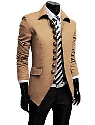 Reverie Men's Lapel Neck Vintage Buckle Bodycon Coat