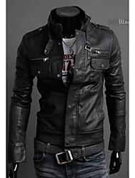 Men's Stand Collar Leather Clothing