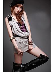 Seitentaschen ärmel drapieren Kragen Kleid beige