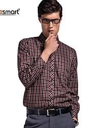 Lesmart Men's Plus Velvet Thick Warm Plaid Long-sleeved Shirt