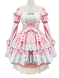 One-Piece/Dress / Maid Suits Lovely Sweet Lolita Princess Cosplay Lolita Dress White / Pink Patchwork Long Sleeve Lolita Dress For Women Cotton