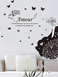 pegatinas etiquetas de la pared, el amor romántico con la belleza&mariposa pegatinas de pared del pvc