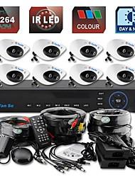 yanse® 8ch d1 dvr kit ir kleuren dome camera beveiligingscamera's systeem cctv 708cc08