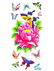 1pc Lovely Butterfly Peony Flower Waterproof Body Art Tattoo Pattern Temporary Tattoos Sticker(18.5cm*8.5cm)