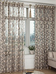 Sheer Hollow Out Jacquard Leaf Sheer Curtain (Two Panel)