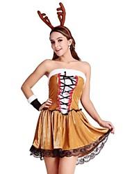 Brown David's Deer Adult Christmas Woman's Costume One Size