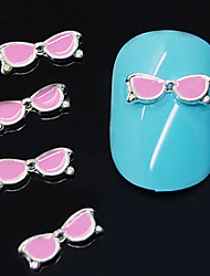 10pcs  Pink Glasses Shape 3D Alloy  Nail Art Decoration