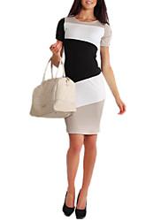 cor do contraste bodycon vestido de manga curta das mulheres GGN