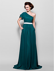 Sweep/Brush Train Chiffon Bridesmaid Dress - Dark Green Misses/Pear/Inverted Triangle/Hourglass/Apple/Petite/Plus Sizes A-lineOne