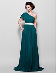 Sweep/Brush Train Chiffon Bridesmaid Dress - Dark Green Plus Sizes / Petite A-line One Shoulder
