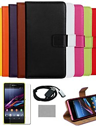 COCO FUN® Ultra Slim Solid Genuine Leather Case with Film,Cable and Stylus for Sony Z1 mini Compact(Assorted Colors)