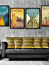 E-HOME® Framed Canvas Art, European Architecture Framed Canvas Print Set of  4