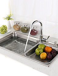 L30.7 Inch Double Bowl 304 Stainless Steel Kitchen Sink Set with Drain Rack