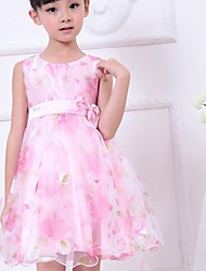 Girl's Flower Print Tulle Bow Party Wedding Pageant Princess Cute Dresses