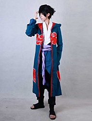 Inspired by Naruto Sasuke Uchiha Anime Cosplay Costumes Cosplay Suits Patchwork Red / Blue Long SleeveCloak / Pants / Shorts / Gauntlets