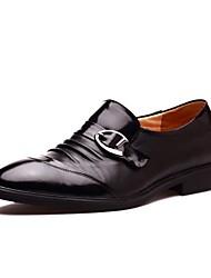 Zapatos de Hombre Boda/Oficina y Trabajo/Casual/Fiesta y Noche Cuero/Pelo de Ternero Oxfords Negro