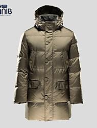 BINNIB Man's Pure Color Thickening Warm Long Sleeve  Casual Long Down Jacket